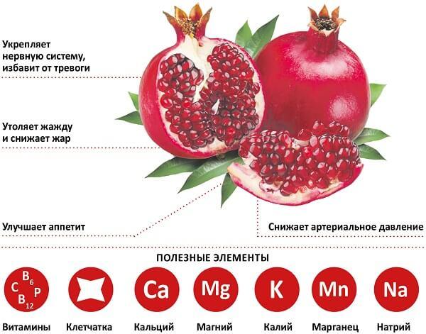 Полезные элементы в плоде граната