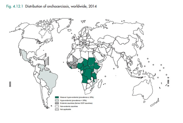 Страны с заболеваниями онхоцеркозом