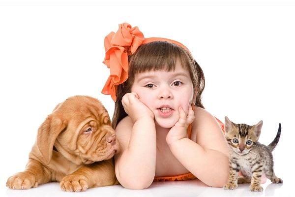 Ребенок с собакой и кошкой