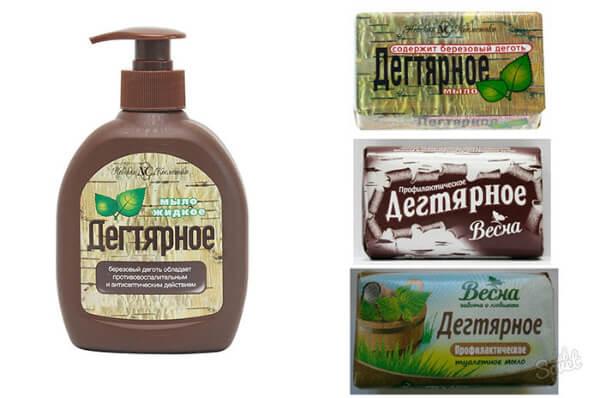 Жидкое и твердое дегтярное мыло