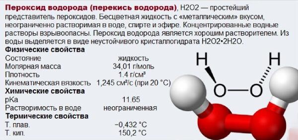 Свойства перекиси водорода